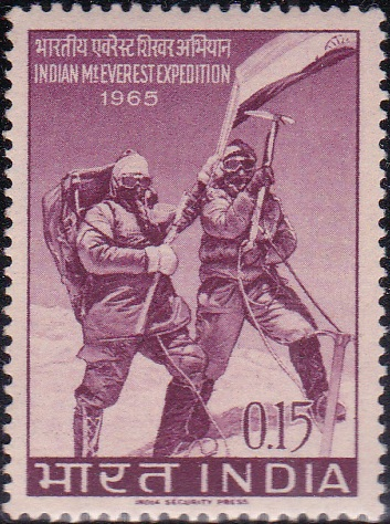 Climbers on Summit waving Indian Flag