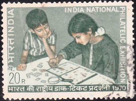 Children Examining Stamps