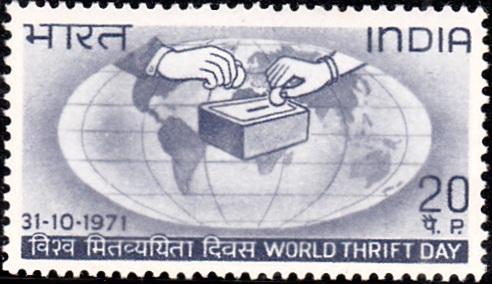 World Savings Day : Globe and Saving Box