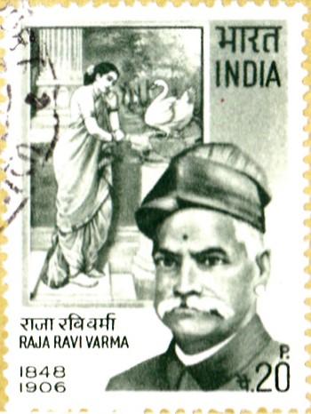 Ravi Verma Koil Thampuran painting : Damayanti and Swan