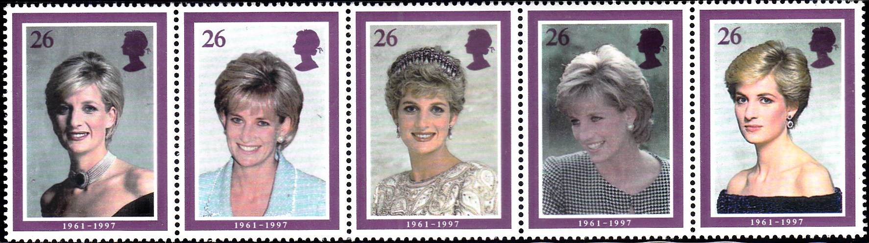 1791-1795 Portraits of Diana [England Setenant Stamp 1998]