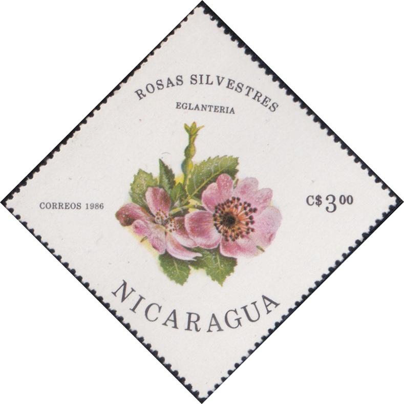 1496 Eglanteria (Rosas Silvestres) [Nicaragua Diamond Stamp 1986]