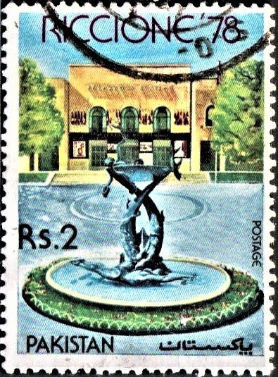 1978 Riccione (Italy) International Stamp Fair Building & Fountain