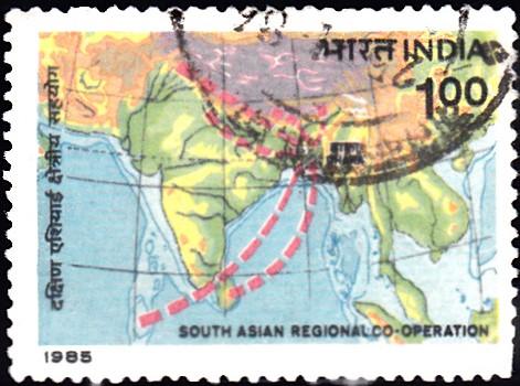 Map Showing Member Countries of SAARC