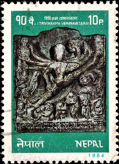 Licchavi Period Sculpture : Vamana taking a giant step