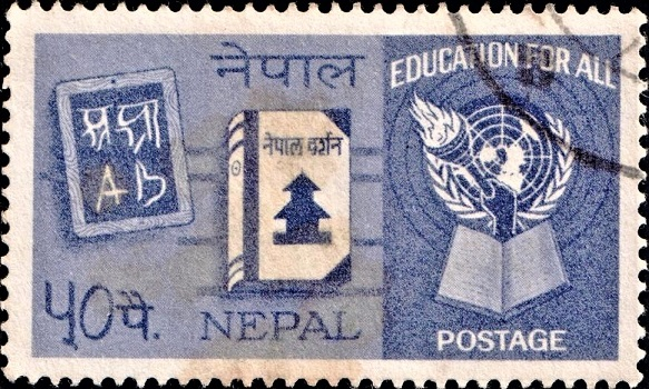 Blackboard, Book 'Nepal Darshan' and UN Emblem
